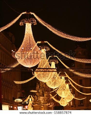 Christmas chandelier in Vienna. Austria - stock photo