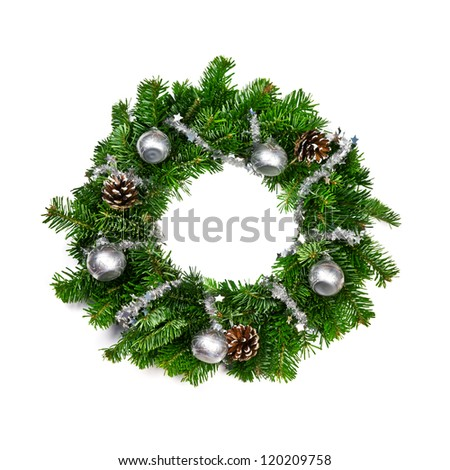 christmas chaplet isolated on white - stock photo