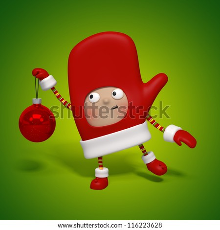 Christmas character holding glass ball - stock photo