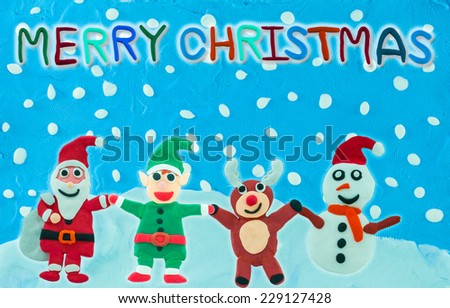 Christmas Character holding hand on Snow field card made from plasticine - stock photo