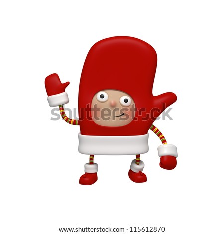 Christmas character mitten - stock photo