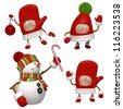 christmas characters isolated on white - stock photo