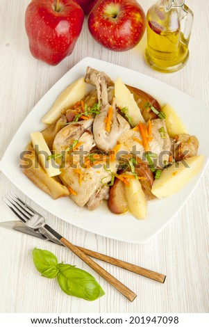 christmas Chicken roasted with apples.