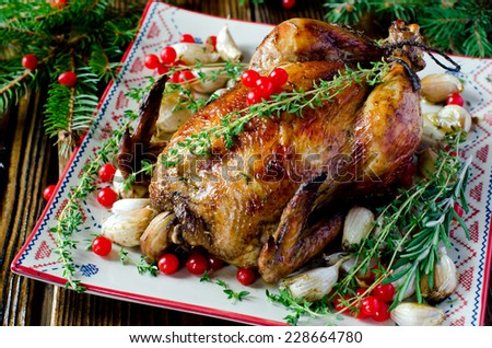 Christmas chicken, turkey with cranberry - stock photo