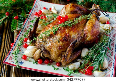 Christmas chicken, turkey with cranberry
