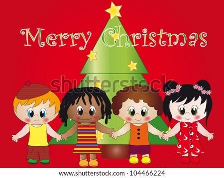 christmas children - stock photo