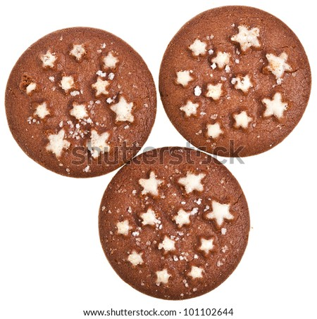christmas chocolate cookie with stars isolated on a white background - stock photo