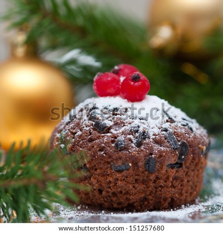 Christmas chocolate cupcake - stock photo