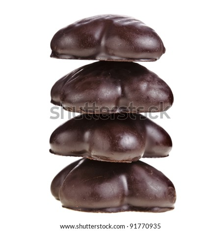 christmas chocolate gingerbread   isolated on a white background - stock photo