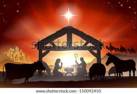 Christmas Christian nativity scene with baby Jesus in the manger in silhouette, three wise men or kings, farm animals and star of Bethlehem - stock photo