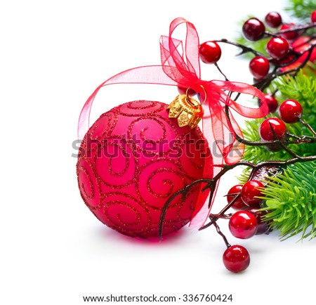 Christmas. Christmas and New Year Bauble and Decoration isolated on White Background. Holiday Border Design Composition. Red Colour  - stock photo