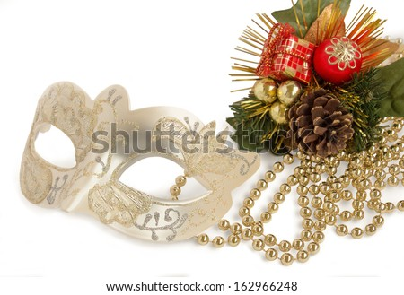 Christmas. Christmas and New Year Baubles and Decorations isolated on White Background.
