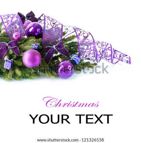 Christmas. Christmas and New Year Baubles and Decorations isolated on White Background.Holiday Border Design Composition. Violet Color - stock photo