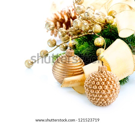 Christmas. Christmas and New Year Decoration with Candle isolated on White Background. Design Composition. Golden Color Holiday Border Art