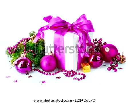 Christmas. Christmas and New Year Gift Box and Decorations isolated on White Background.Holiday Design Composition. Violet Color - stock photo