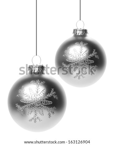 christmas, christmas baubles silver with white background - stock photo