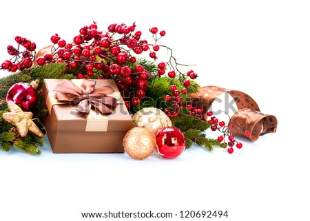 Christmas. Christmas Decoration and Gift Box Holiday Decorations Isolated on White Background - stock photo