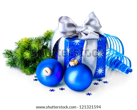 Christmas. Christmas Gift Box and Decorations isolated on White Background. Design Composition. Blue Color - stock photo