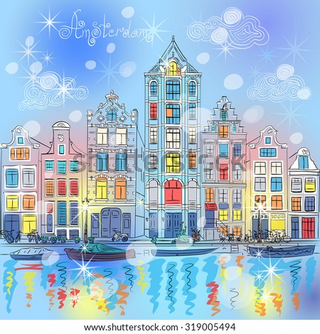 Christmas city view of Amsterdam canal with typical dutch houses, Holland, Netherlands.