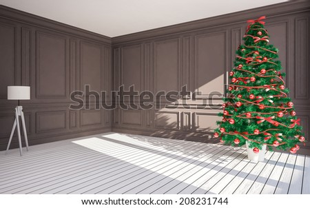 Christmas classic interior  with  Christmas tree ,Lamp