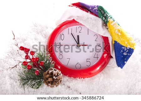 Christmas clock 12 hours - stock photo
