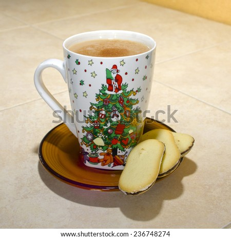 Christmas Coffee Mug with Cookies - stock photo
