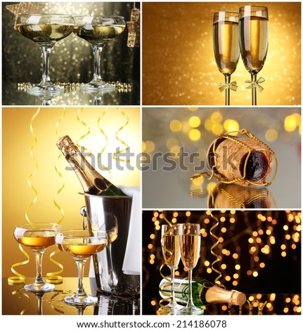 Christmas collage. Glasses of champagne on  shine  background - stock photo