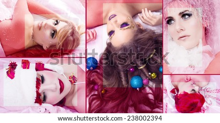 Christmas collage of beautiful girls massaged - stock photo