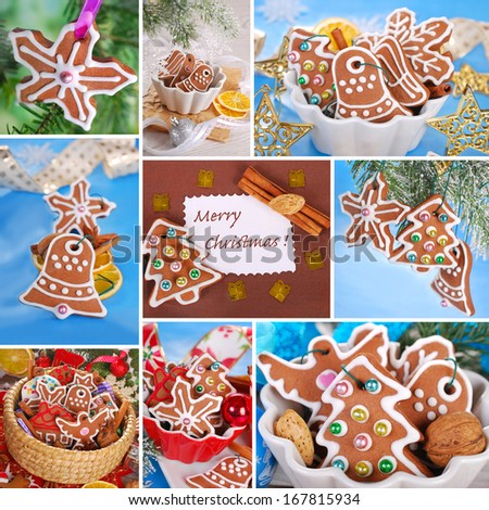 christmas collage of homemade gingerbread cookies decorated with icing - stock photo