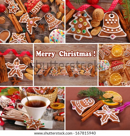 christmas collage of homemade gingerbread cookies decorated with icing in rustic style - stock photo