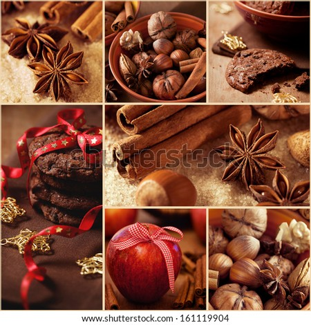 Christmas collage with chocolate cookies, nuts and spices - stock photo
