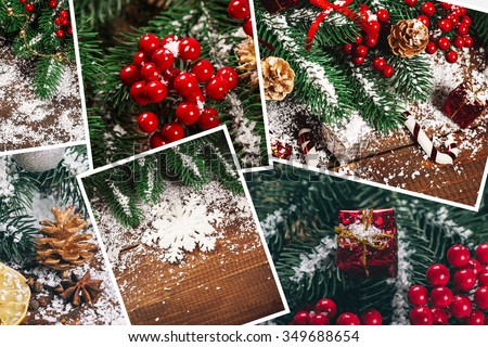 Christmas collage with gifts,toys and fir tree branches. Christmas collection - stock photo