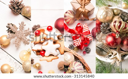 Christmas collage with red and golden ornaments, fir-cones on a wooden table