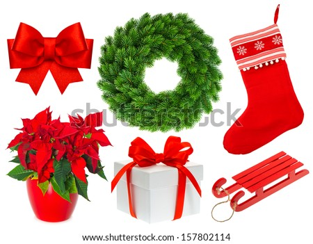 Christmas collection isolated on white background. Set with stocking, gifts, wreath, ribbon bow - stock photo