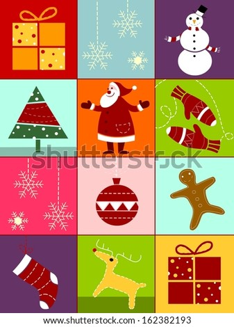 Christmas collection with snowflakes,reindeer, gingerbread,christmas tree, gloves,snowman,Santa and ornaments