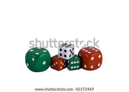 Christmas colored dice isolated on white
