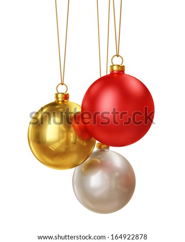 Christmas colorful shiny balls decoration isolated on white background