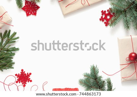 Christmas Composition Christmas Frame Made Fir Stock Photo (100 ...