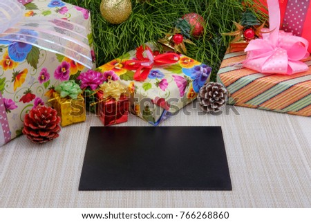 Christmas composition. Christmas gifts, boxes, decorations on white background. Flat lay, top view. Copy space.