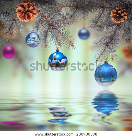 Christmas composition. Fir branches decorated with Christmas toys. New Year background - stock photo