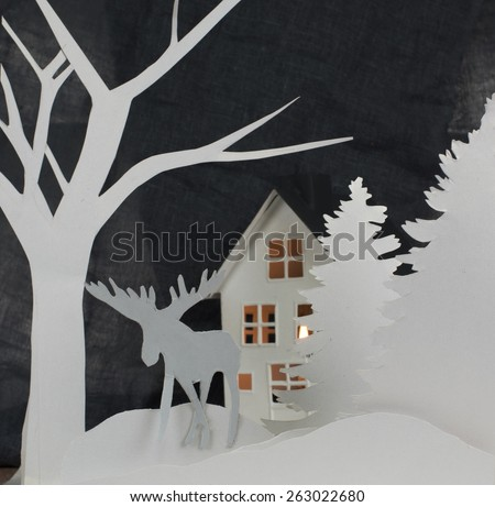 Christmas composition from paper shapes  - stock photo
