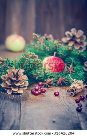 Christmas composition . ingredients for a warming winter drink. In anticipation of the holiday. Tinted Photo - stock photo