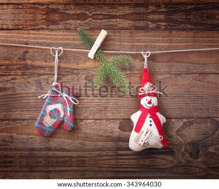 Christmas composition of the toys handmade Christmas tree - stock photo