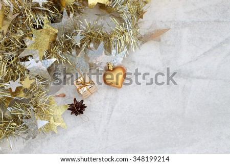Christmas composition on a background of ice