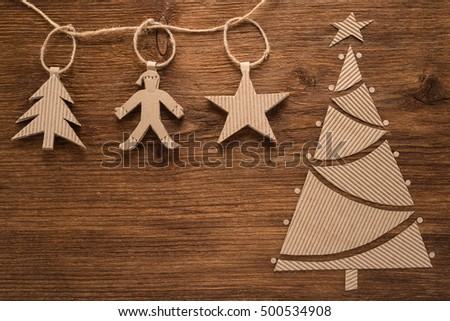 Christmas composition on a wooden background