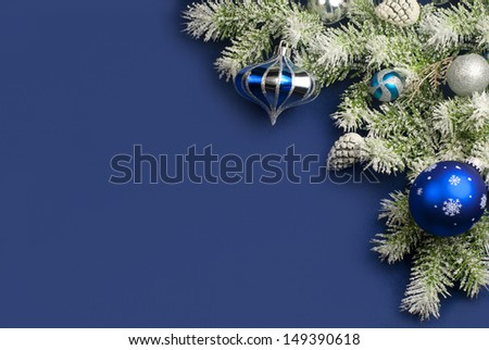 Christmas composition on blue satin for greeting card  - stock photo