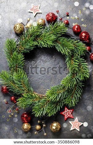 Christmas composition on dark vintage background - stock photo