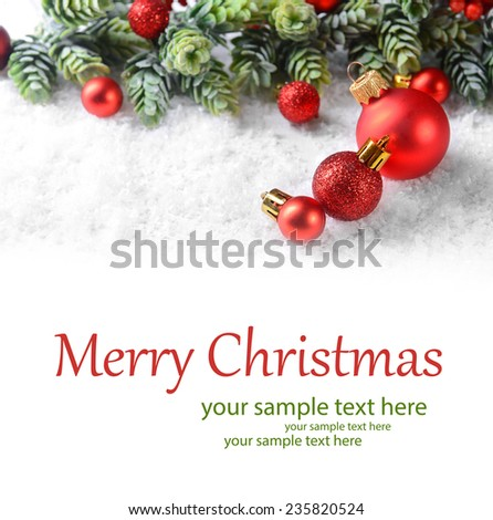 Christmas composition on light background - stock photo
