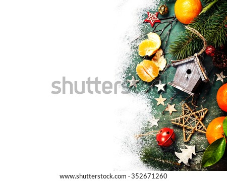 Christmas composition on snow white background - stock photo