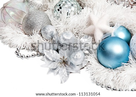 Christmas composition with blue ball and silver flower